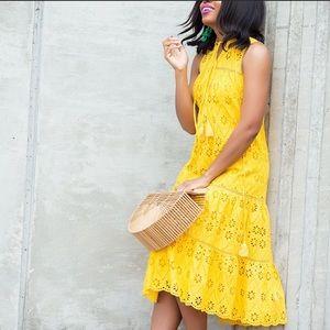 Kate Spade Eyelet Patio Midi Dress Yellow Spice